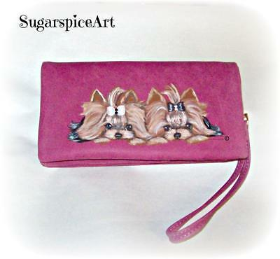 Yorkie Hand Painted Wristlet Spring Wallet by SugarspiceArt