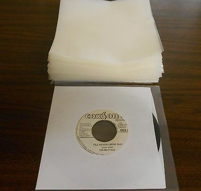 """Pack of 50, 45 RPM Plastic Record Sleeves (7 3/8"""" x 7 3/8"""", 4 mil thickness."""