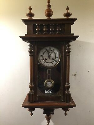 Antique Deutsches Wall Clock R/A Pendulum Time and Chime