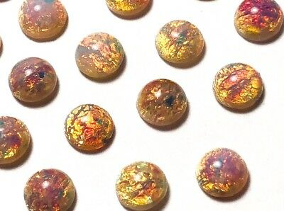 Qty 4 - Special Rare Vintage 7mm Harlequin Fire Opal Czech Glass FB Cabochons