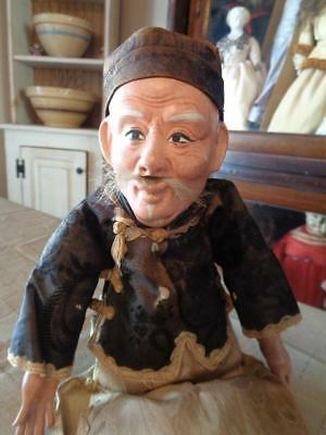 "Vintage/Antique Composition & Cloth  Chinese Doll~Elderly Man~12.5""~TLC~#1"