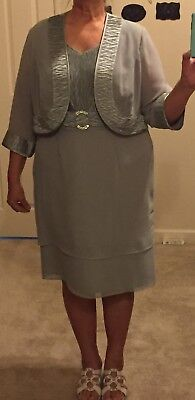 """""""LE BOS""""  Mother of Bride/Groom Sage Green Formal 2-Piece Outfit/Dress, Size 16W"""