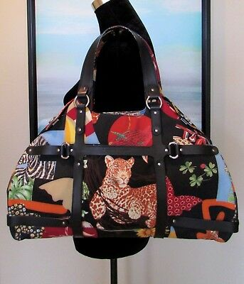 3ab4275c40 Salvatore Ferragamo FIERA Leopard Animal Print Large Boston Shoulder Bag