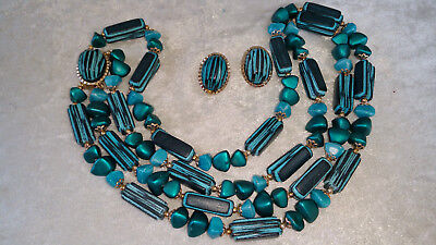 Vintage necklace & earrings set Signed Hong Kong Turquoise blue etched