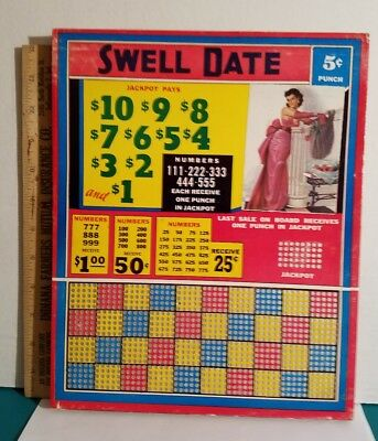 Vintage Punch Board C1950S Swell Date 5 Cent Punch