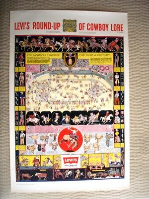 Levi's Round-Up Of Cowboy Lore,sweetheart Of The Rodeo,jo Mora Poster Map