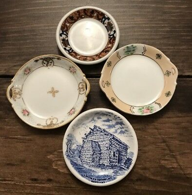 Vtg Butter Pat Miniature Plate Lot of 4 Nippon Restaurantware Blue Transferware