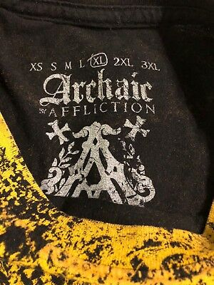 Archaic by Affliction Silver Foil Graphics Black/Yellow Tshirt Mens Size XL