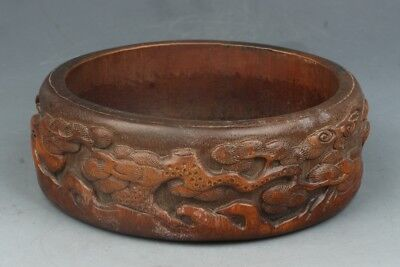 Chinese Exquisite Hand-carved pine carving bamboo Brush Washer