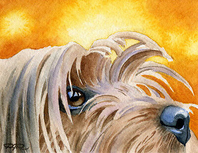 YORKSHIRE TERRIER Dog Watercolor 8 x 10 Art Print Signed by Artist DJR