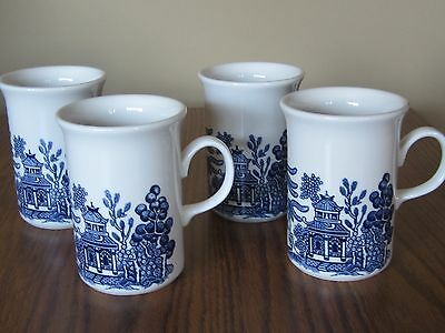 BLUE WILLOW CC Churchill England Set of 4 Tall Coffee Mugs