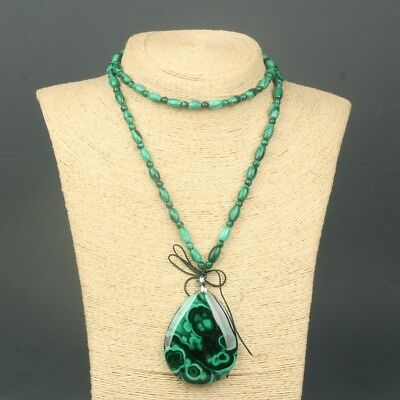 Chinese Exquisite Hand-carved Malachite necklace