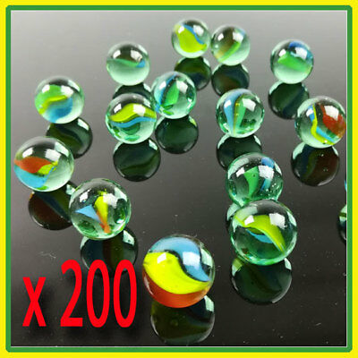 200  Cat's eye Glass Marbles Kids Traditional Toys Classic Retro Gift Game Party