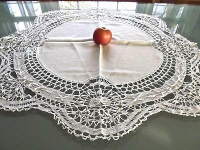 "Antique Chic Linen & Cluny Lace 32"" Round Tablecloth Topper Bridal Centerpiece"