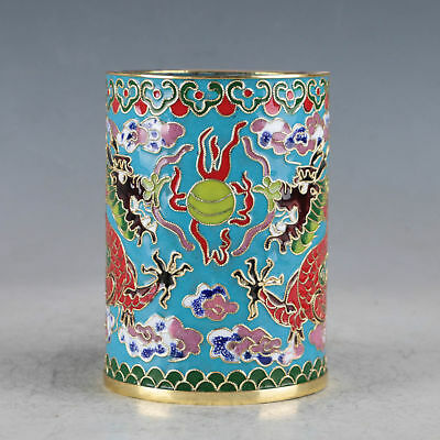 Chinese  Cloisonne Hand-made Two Dragons Brush Pots JTL1034
