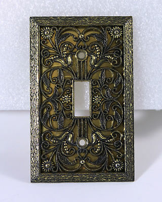 Brass Ornate Light Switch Cover Single Toggle Fancy Floral Flower Design