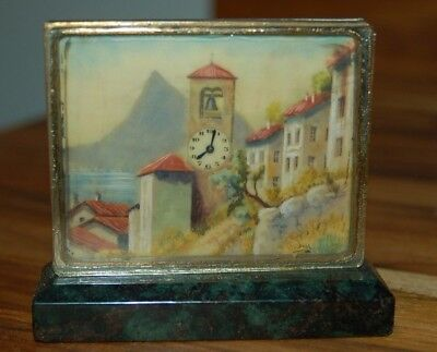 Lovely Vintage Swiss Scenic Clocktower Desk Clock with Green Marble Base