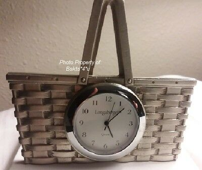 NEW USA Longaberger Silver BASKET-Shaped Standing DESK CLOCK- VERY RARE FIND