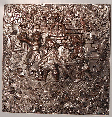 "ANTIQUE Repousse Silver Copper Brass Ormolu METAL SQUARE 3 3/8"" Medieval Tavern"