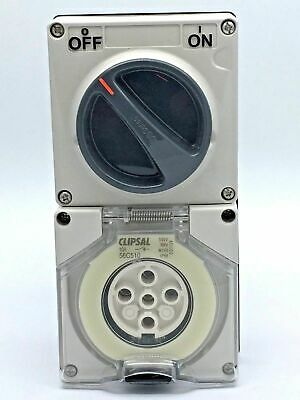 Clipsal 56C510 Switched Socket Outlet 5 Pin Round 10A 10 Amp 500V Combo  No Base