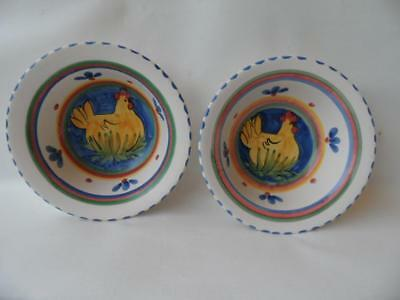 2 X Australian Pottery Hand Painted W P Aust Chicken Design Bowls