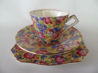 Royal Winton Grimwades Royalty All over floral chintz Art Deco handle trio 3079