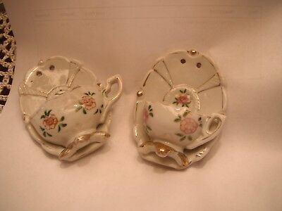 2 Vintage 'Occupied Japan' Small FLORAL TEA CUP Ceramic  Wall Pockets