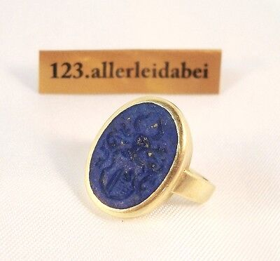 alter Wappen Siegelring 585 Gold mit Lapislazuli Ring Herrenring / AT 744