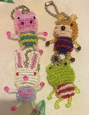 4x New Beaded Animal Pig / Bunny Rabbit / Teddy Bear / Frog Keychains From Japan