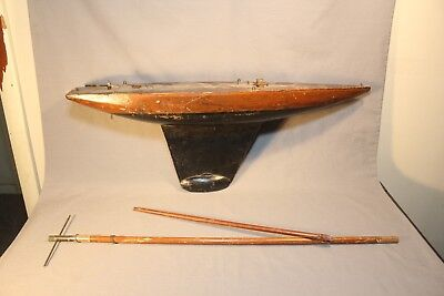 Large Antique Pond Boat Wood & Metal Sailboat Yacht 30 inches Pre 1920's