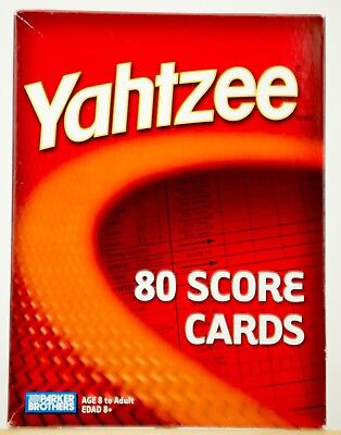 Genuine Yahtzee Score Pad Refill Pack 80 Cards from Parker Brothers - UNOPENED