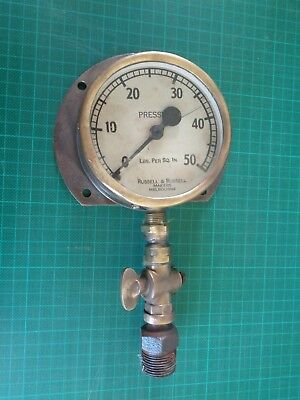 Vintage brass pressure gauge RUSSELL & RUSSELL Melbourne