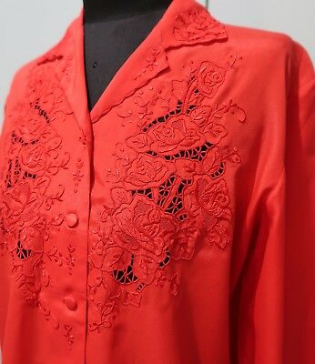 Vintage 1970s Size 36 Rose Brand Red Hand Embroidered Blouse- 51cm Bust