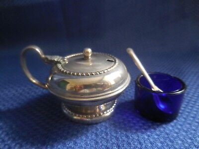 EPNS salt/mustard dish with blue glass insert and spoon