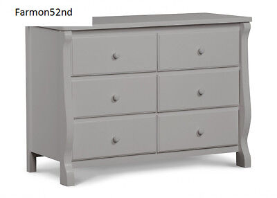 Delta Children Universal 6 Drawer Dresser, Grey, NEW