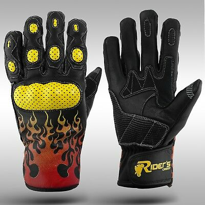Leather Motorbike Gloves, Motorcycle Gloves, Knuckle Protection - RC Navigator 2