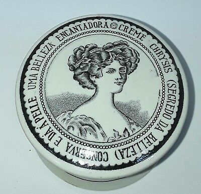 Antique Pictorial Pot Lid And Base Chrysis Cream Mint Condition Circa 1900