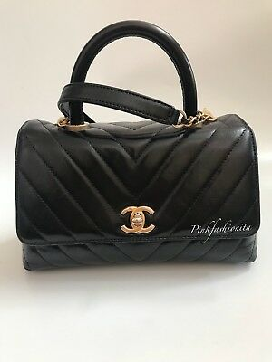 ba9c1b33c869 Chanel Coco Handle Black Quilted Chevron Calfskin Flap Bag Gold GHW Hardware