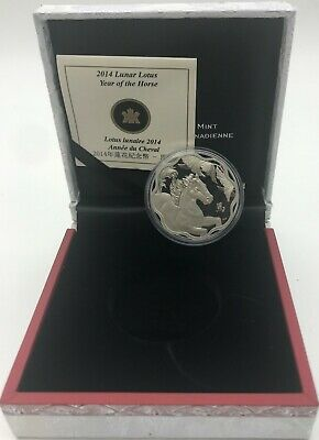 Canada 2014 Argent 15$ dollars Lunaire Lotus Year of The Cheval / Kanada Cheval
