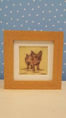 Needle felted picture. Piggy pig