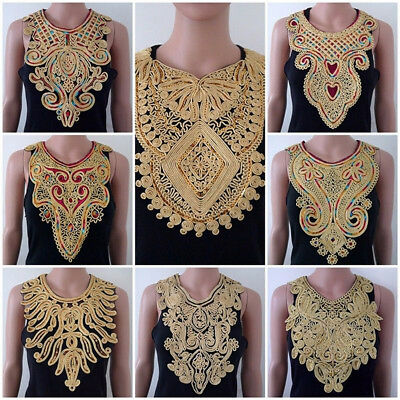 KF_ Lace Embroidered Venise Neckline Neck Collar Trim Clothes Sewing Applique