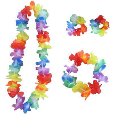 Hawaiian Hula Flower Garland  Set 4pc Lei Luau Hula Fancy Dress Aloha Beach Part