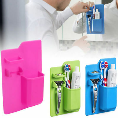 1pc Silicone Bathroom Organizer Mighty Toothbrush Holder bathroom Mirror blue