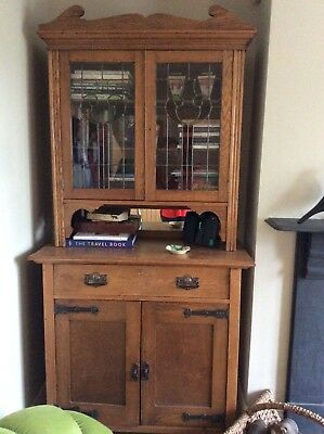 Antique Art Noveau Oak Dresser in good condition with leaded stained glass doors