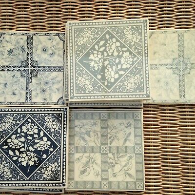 18 x Reproduction Victorian style wall tiles greys & blues