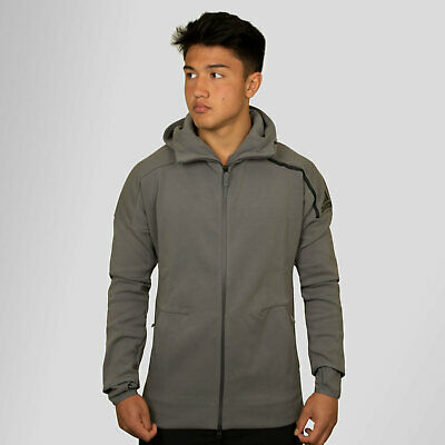 adidas Mens ZNE 2 Full Zip Hooded Training Sweat Grey Top Sports Training