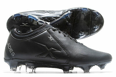 X Blades Mens Jet K Leather Firm Ground Rugby Boots Sports Shoes Studs Black