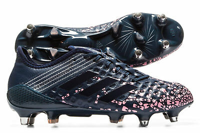 adidas Mens Predator Malice Control Eden Rugby Boots Sports Shoes Studs Navy