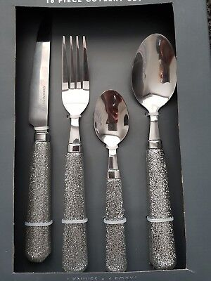 Silver Diamante Glitter Sparkle 16 Piece Cutlery Set