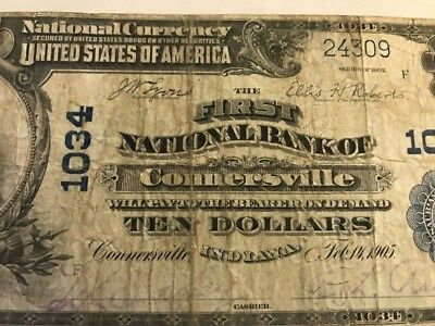 RARE 1902 $10 BILL CONNERSVILLE. IN INDIANA Ch 1034 Serial #24309 Blue Seal